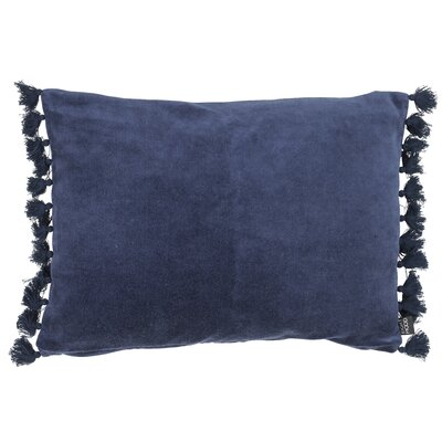 Rustic Scandinavian Fringes Cotton Lumbar Pillow Color: Dark Blue