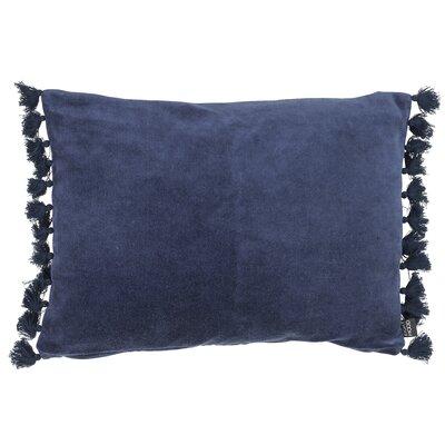 Rustic Scandinavian Fringes Cotton Lumbar Pillow Color: Dark Blue