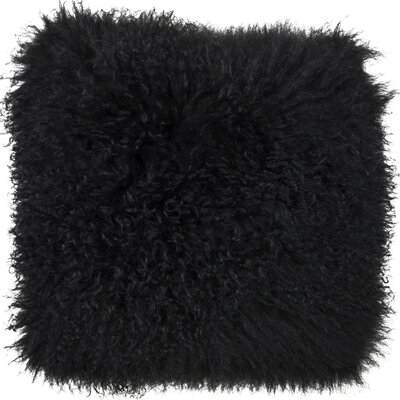 Essentials Fuyu Mongolian Throw Pillow Color: Black