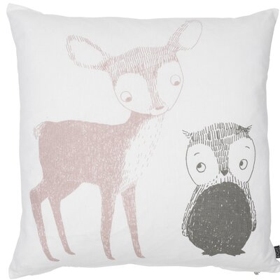 Kids Deer and Owl Cotton Throw Pillow Color: Pink/Gray