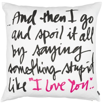 Modern Romance Something Stupid Cotton Throw Pillow