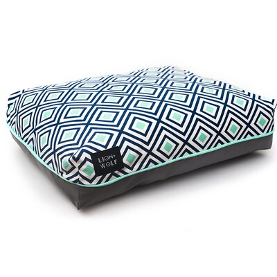 Geo Rhombus Dog Pillow Size: Small (27 L x 21 W), Color: Aquatic