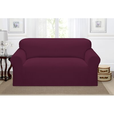 Day Break Box Cushion Loveseat Slipcover Upholstery: Burgundy