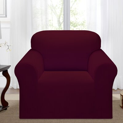 Day Break Box Cushion Armchair Slipcover Upholstery: Burgundy