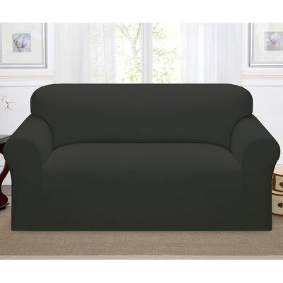 Day Break Box Cushion Loveseat Slipcover Upholstery: Charcoal