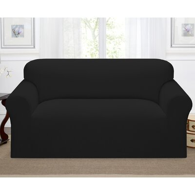 Day Break Box Cushion Loveseat Slipcover Upholstery: Black