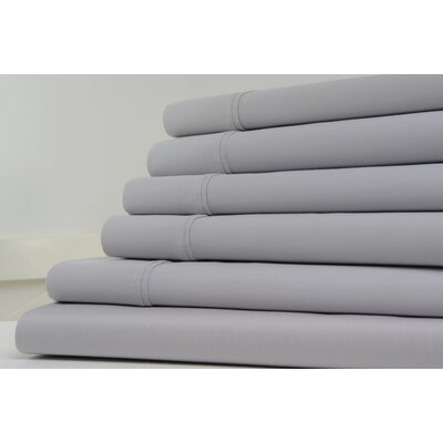 1200 Thread Count 6 Piece Sheet Set Color: Silver, Size: Queen