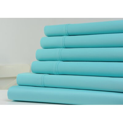 1200 Thread Count 6 Piece Sheet Set Color: Aqua, Size: King