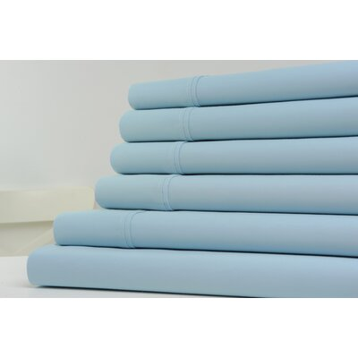 1200 Thread Count 6 Piece Sheet Set Color: Sky Blue, Size: King