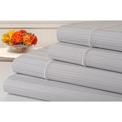 Ellesmere Striped 400 Thread Count 100% Cotton Sheet Set Color: Glacier Gray