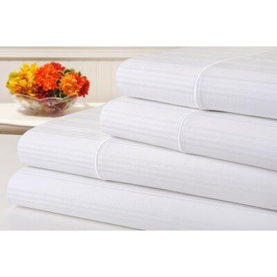 Ellesmere Striped 400 Thread Count 100% Cotton Sheet Set Color: White