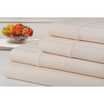 Ellesmere Striped 400 Thread Count 100% Cotton Sheet Set Color: Pearl Ivory