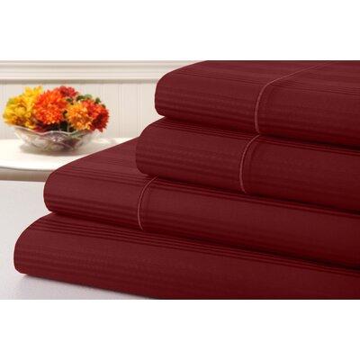 Ellesmere Striped 400 Thread Count 100% Cotton Sheet Set Color: Tango Red
