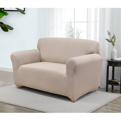 Box Cushion Loveseat Slipcover Upholstery: Cream