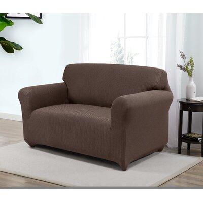 Box Cushion Loveseat Slipcover Upholstery: Brown