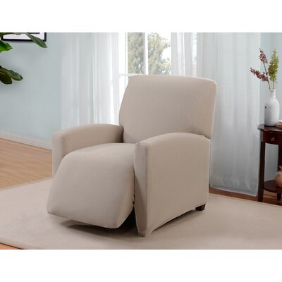 Box Cushion Recliner Slipcover Upholstery: Cream