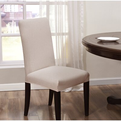 Box Cushion Dining Chair Slipcover Upholstery: Cream