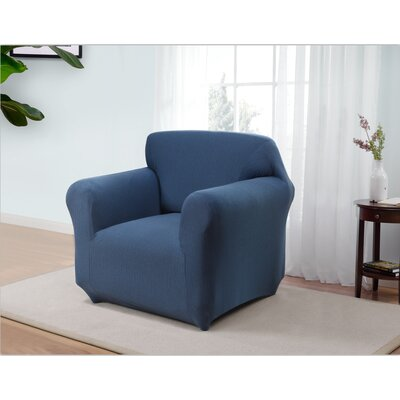 Box Cushion Armchair Slipcover Upholstery: Blue