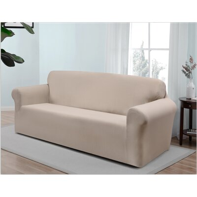 Box Cushion Sofa Slipcover Upholstery: Cream