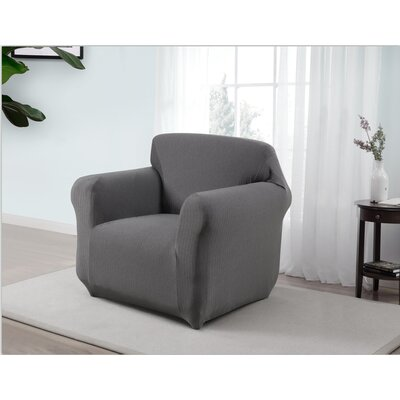 Box Cushion Armchair Slipcover Upholstery: Gray