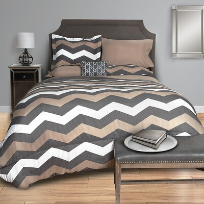 Chevron Bed in a Bag Set Size: Twin XL, Color: Taupe/Gray/White