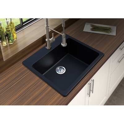 Granite Quartz 25 x 22 Single Bowl Drop-In Kitchen Sink Finish: Black
