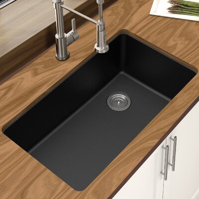 Granite Quartz 33 x 18.75 Single Bowl Undermount Kitchen Sink Finish: Black