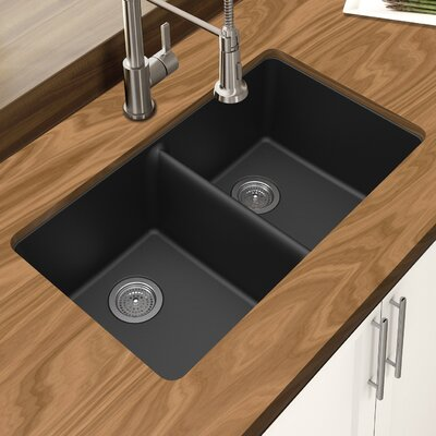 Granite Quartz 33 x 19 Double Bowl Undermount Kitchen Sink Finish: Black