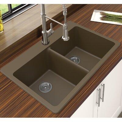 Granite Quartz 33 x 22 Double Bowl Drop-In Kitchen Sink Finish: Mocha