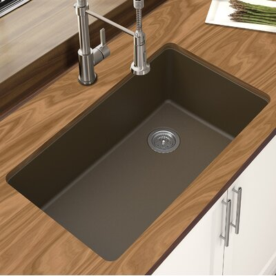 Granite Quartz 33 x 18.75 Single Bowl Undermount Kitchen Sink Finish: Mocha
