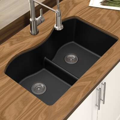 Granite Quartz 31 x 18 Double Bowl Undermount Kitchen Sink Finish: Black