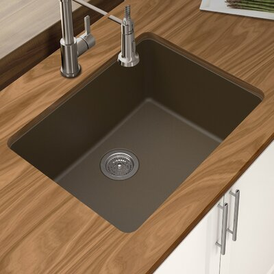 Granite Quartz 25 x 18.5 Single Bowl Undermount Kitchen Sink Finish: Mocha