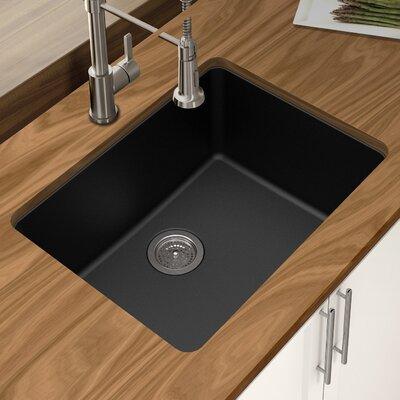 Granite Quartz 25 x 18.5 Single Bowl Undermount Kitchen Sink Finish: Black