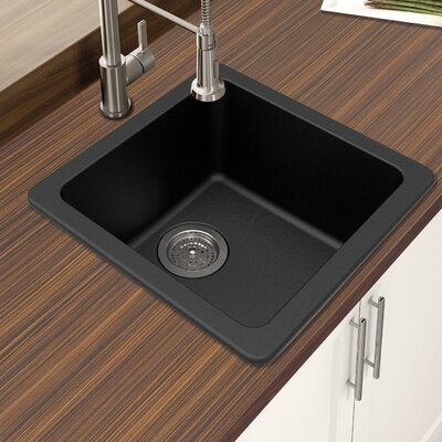 Granite Quartz 16.64 x 16.64 Single Bowl Drop-In Kitchen Sink Finish: Black