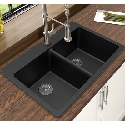 Granite Quartz 33 x 22 Double Bowl Drop-In Kitchen Sink Finish: Black