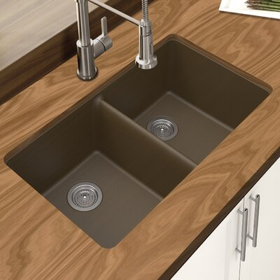 Granite Quartz 33 x 18.75 Double Bowl Undermount Kitchen Sink Finish: Mocha