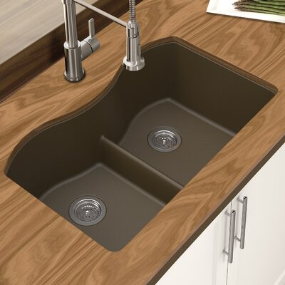Granite Quartz 31 x 18 Double Bowl Undermount Kitchen Sink Finish: Mocha