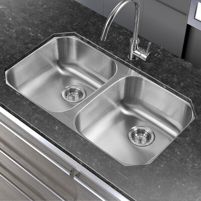 32.25 x 18.06 Double Basin Undermount Kitchen Sink