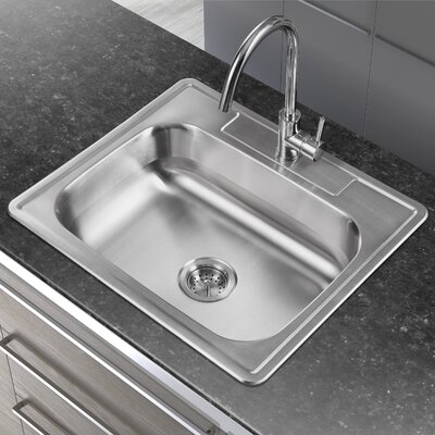 25 x 22 Single Basin Drop-In Kitchen Sink