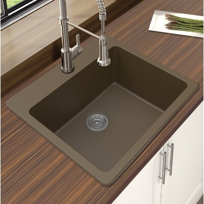 Granite Quartz 25 x 22 Single Bowl Drop-In Kitchen Sink Finish: Mocha