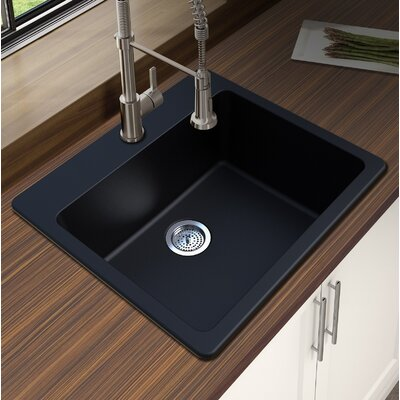 Granite Quartz 25 x 22 Single Bowl Drop-In Kitchen Sink Finish: Black