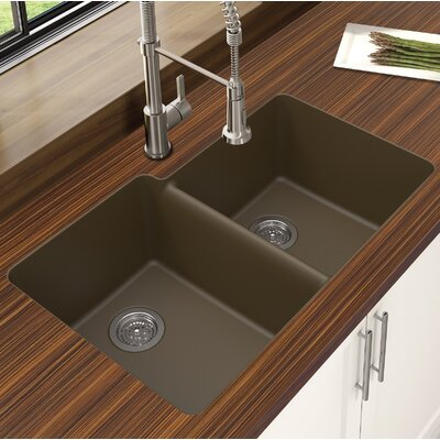 Granite Quartz Offset 33 x 21 Double Basin Undermount Kitchen Sink Finish: Mocha
