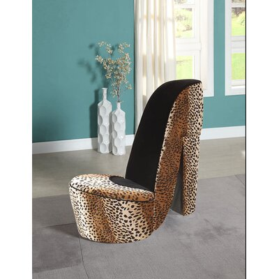 Bordertown High Heel Shoe Side Chair Color: Leopard & Black