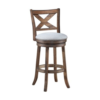 Mackin Wooden Swivel Bar Stool Size: 43