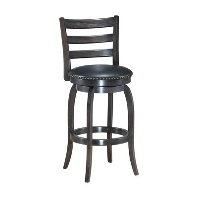 Mackinnon Wooden Swivel Bar Stool Size: 38