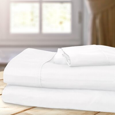 1000 Thread Count 4 Piece Sheet Set Color: White, Size: Queen