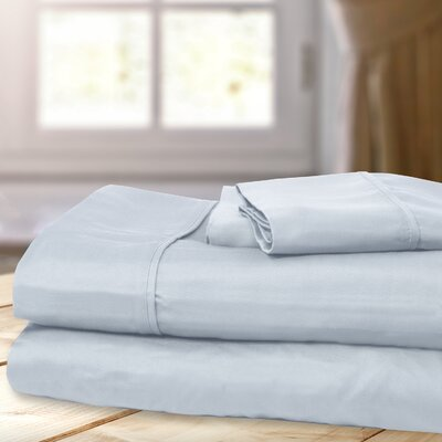1000 Thread Count 4 Piece Sheet Set Color: Misty Blue, Size: King