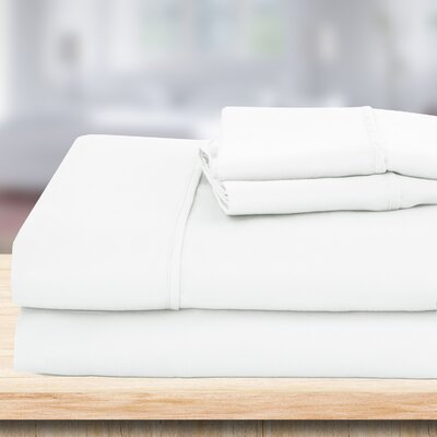 4 Piece 1500 Thread Count Sheet Set Color: White, Size: Queen