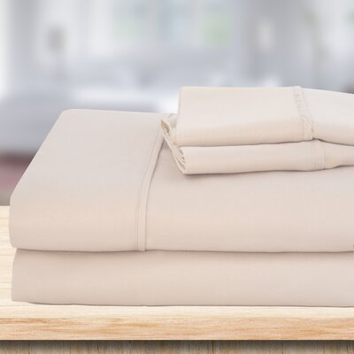4 Piece 1500 Thread Count Sheet Set Color: Ivory, Size: Full/Double