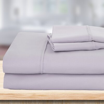 4 Piece 1500 Thread Count Sheet Set Color: Light Gray, Size: Queen